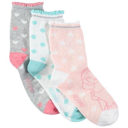 Σετ 3 ζευγάρια κάλτσες με εμπριμέ μοτίβα και τις πριγκίπισσες της Disney