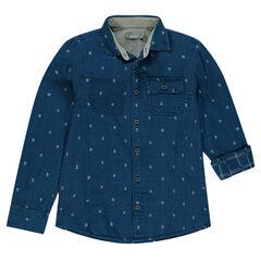 Παιδικά - Μακρυμάνικο πουκάμισο με διακριτικό σχέδιο σε όλη την επιφάνεια και τσέπη