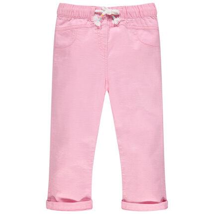 Υφασμάτινο ροζ παντελόνι με λάστιχο στη μέση