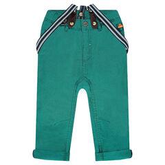 Μονόχρωμο υφασμάτινο παντελόνι με ριγέ αφαιρούμενες τιράντες