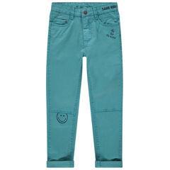 Βαμβακερό μπλε παντελόνι με τσέπες και στάμπες Smiley