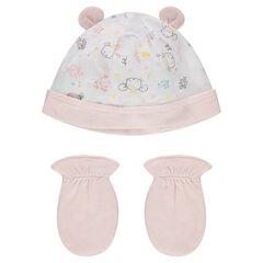 Σύνολο για νεογέννητα με εμπριμέ σκούφο και μονόχρωμα ενιαία γάντια