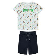 a815430d339 Σύνολο παραλίας με μπλούζα με παπαγάλους και μονόχρωμη βερμούδα