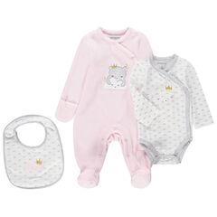 Σύνολο για νεογέννητα με βελουτέ φορμάκι ύπνου, μακρυμάνικο κορμάκι και σαλιάρα