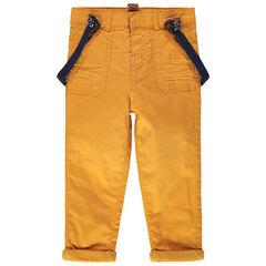 Βαμβακερό παντελόνι με ελαστικές αφαιρούμενες τιράντες