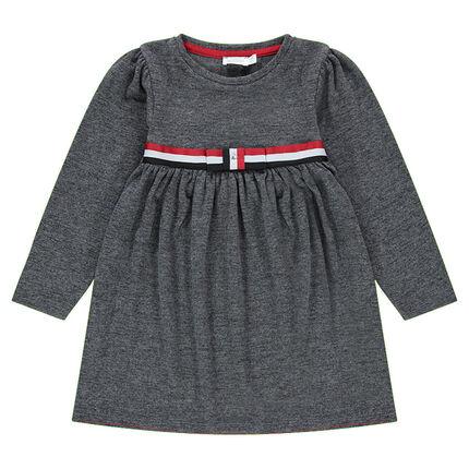Μακρυμάνικο φόρεμα με τρίχρωμη λωρίδα και φιόγκο