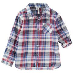 Μακρυμάνικο καρό πουκάμισο με μανίκια που γυρίζουν και τσέπη