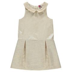 Φόρεμα από δύο υλικά αμάνικο με γυαλιστερό εφέ και στρογγυλό γιακαδάκι