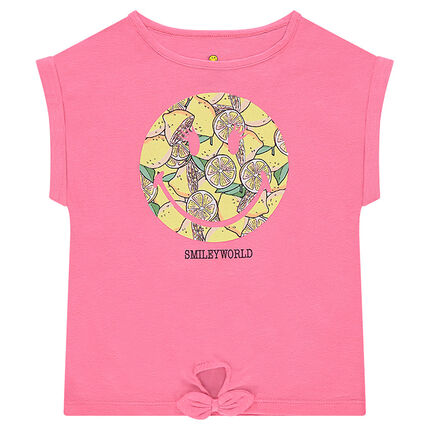Κοντομάνικη ζέρσεϊ μπλούζα σε φαρδιά γραμμή με στάμπα ©Smiley