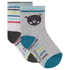 Σετ με 2 ζευγάρια κάλτσες, ένα με μοτίβο αρκουδάκια / ένα ριγέ