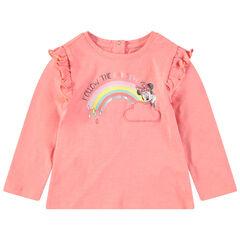 Μακρυμάνικη μπλούζα με βολάν, στάμπα τη Minnie της Disney και ουράνιο τόξο