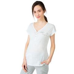 Κοντομάνικη μπλούζα εγκυμοσύνης για το σπίτι με τυπωμένο μήνυμα