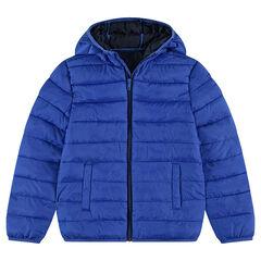 Παιδικά - Ελαφρύ καπιτονέ αδιάβροχο μπουφάν με κουκούλα και θήκη με στάμπα