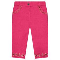 Παντελόνι από βελούδο κοτλέ με κεντήματα