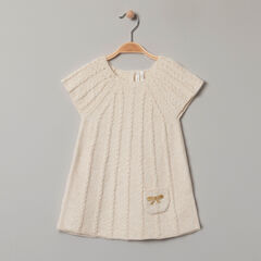 Κοντομάνικο πλεκτό φόρεμα με κεντημένη τσέπη φιόγκο