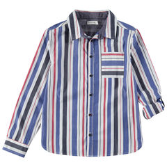 Παιδικά - Μακρυμάνικο πουκάμισο με κάθετες ρίγες και τσέπη