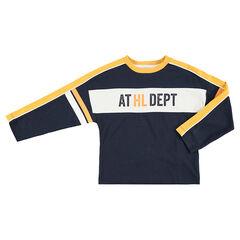 Μακρυμάνικη μπλούζα σε τετράγωνη γραμμή με λωρίδες σε αντίθεση