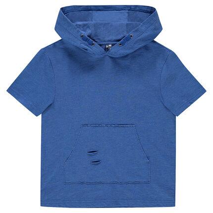 1c6979bc8f4 Παιδικά - Κοντομάνικο φούτερ με κουκούλα και τσέπη καγκουρό ...