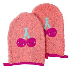 Σετ με 2 γάντια μπάνιου με μπάλωμα φρούτο
