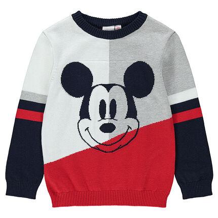 Πλεκτό πουλόβερ με ζακάρ μοτίβο τον Μίκυ της ©Disney