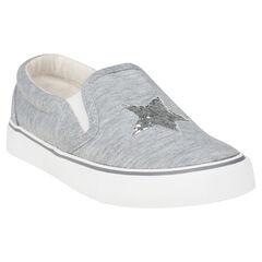 Υφασμάτινα χαμηλά αθλητικά παπούτσια με λάστιχο και αστέρι από πούλιες