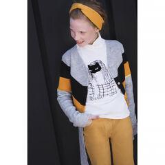 Παιδικά - Μακριά πλεκτή ζακέτα με μελανζέ όψη και λωρίδες σε αντίθεση