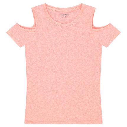 Παιδικά - Κοντομάνικη μελανζέ μπλούζα με άνοιγμα στους ώμους