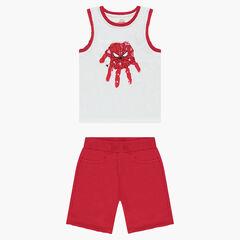 Σύνολο αμάνικη μπλούζα με στάμπα Spiderman της ©Marvel και φανελένια κόκκινη βερμούδα