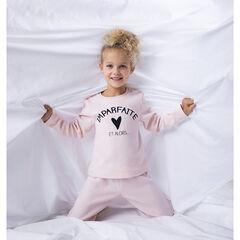 Πιτζάμα polaire ροζ με μήνυμα για κορίτσι , Orchestra