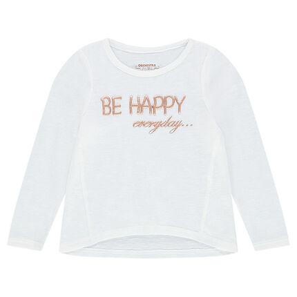 Λεπτή πλεκτή μακρυμάνικη μπλούζα με τυπωμένο μήνυμα