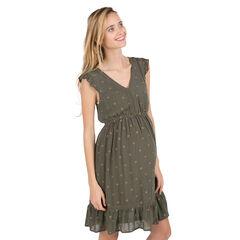 Φόρεμα εγκυμοσύνης χακί με αστεράκια χρυσαφί σε όλη την επιφάνεια