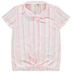 Παιδικά - Κοντομάνικο πουκάμισο που δένει μπροστά με κάθετες ρίγες