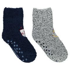 Σετ με 2 ζευγάρια κάλτσες μπουκλέ με κεντημένα μοτίβα ©Smiley