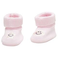 Μαλακά παπουτσάκια αγκαλιάς από βιολογικό βαμβάκι με κεντημένο σύννεφο Smiley