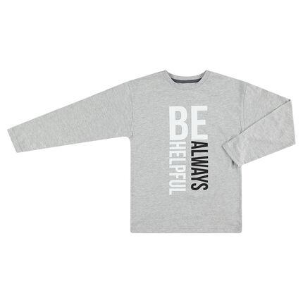 Μακρυμάνικη μπλούζα γκρι με τυπωμένο κείμενο