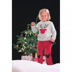 Δίχρωμη φλις πιτζάμα με περίγραμμα Μίκυ της ©Disney σε χριστουγεννιάτικο σχέδιο