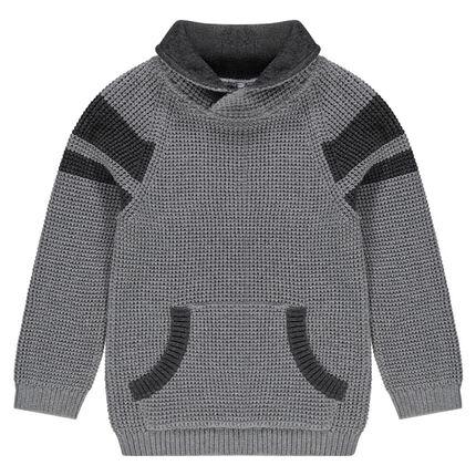 Μακρυμάνικο πλεκτό πουλόβερ με τσέπη καγκουρό