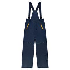 Παιδικά - Μονόχρωμο παντελόνι του σκι με αφαιρούμενες τιράντες και τσέπες με φερμουάρ