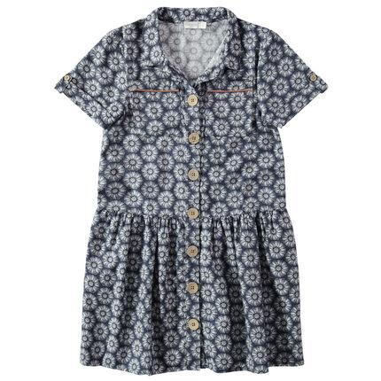 Παιδικά - Κοντομάνικο φόρεμα με εμπριμέ μοτίβο
