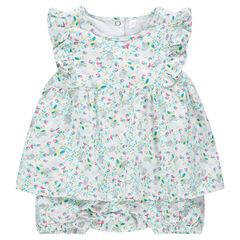 Κοντό ολόσωμο φορμάκι-φόρεμα με μικρά λουλουδάκια σε όλη την επιφάνεια