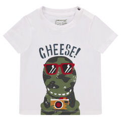 Μονόχρωμη κοντομάνικη μπλούζα με διακοσμητική στάμπα
