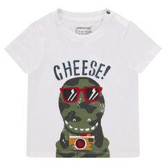 675ca241a0e6 Μονόχρωμη κοντομάνικη μπλούζα με διακοσμητική στάμπα