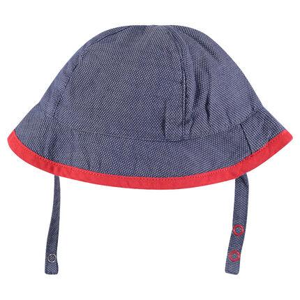 Βαμβακερό blue jean καπελάκι με κόκκινο ρέλι