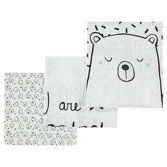 Σετ 3 τετράγωνες πάνες αγκαλιάς με μοτίβο αρκουδάκι
