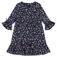 Παιδικά - Βαμβακερό φόρεμα με βολάν και λουλούδια σε όλη την επιφάνεια