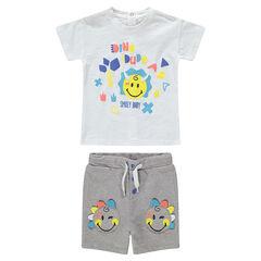 Σύνολο μπλούζα με στάμπα ©Smiley και βερμούδα με απλικέ μοτίβα Smiley