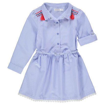 Φόρεμα-πουκαμίσα με λεπτές ρίγες και ζώνη σε σχήμα πλεξούδας