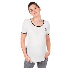 Κοντομάνικη μπλούζα με στάμπα και λοξό ρέλι σε αντίθεση