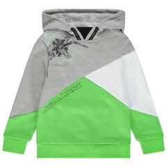 Τρίχρωμο φούτερ με κουκούλα και στάμπα Star Wars