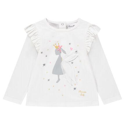 Μακρυμάνικη μπλούζα με βολάν και στάμπα πριγκίπισσα
